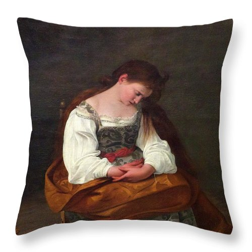 1594-1595 Throw Pillow featuring the photograph Repentant Mary Magdalene by Peter Barritt