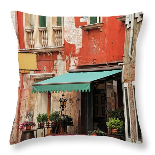 Empty Throw Pillow featuring the photograph Restaurant In Venice by Mammuth