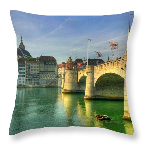 Outdoors Throw Pillow featuring the photograph Rhine Bridge In Basel by Richard Fairless
