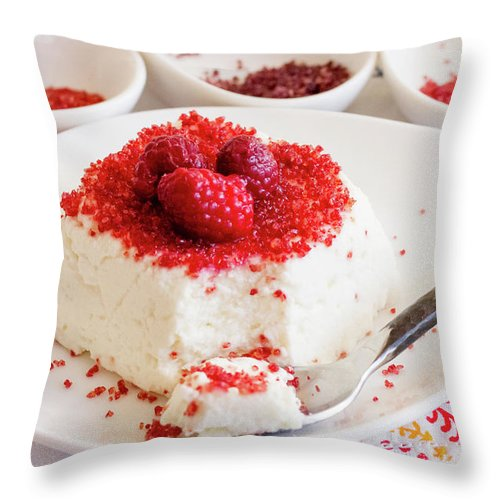 Sugar Throw Pillow featuring the photograph Ricotta With Raspberry Sugar by Katya Lyukum