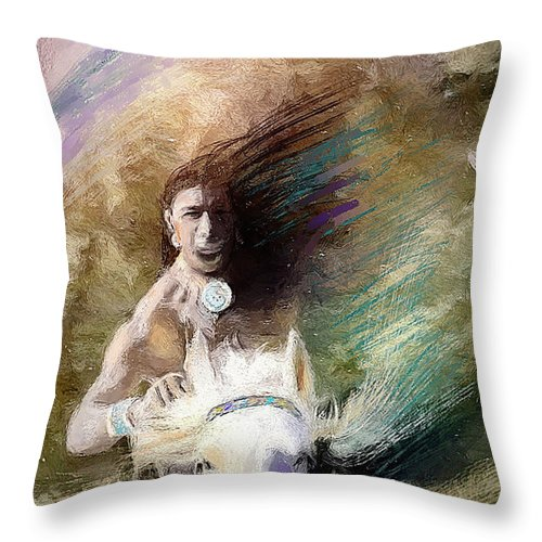 Native American Throw Pillow featuring the digital art Rides With Wind by Kimber Wallwork-Heineman