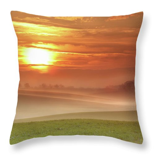 Tranquility Throw Pillow featuring the photograph Ripples In Mist by Andy Freer