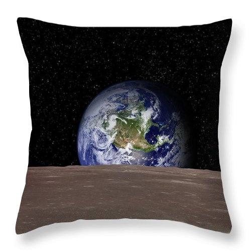 Landscape Throw Pillow featuring the photograph Rising Earth Over Moon Surface by Photovideostock