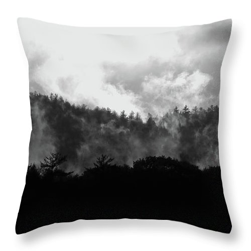 Landscape Throw Pillow featuring the photograph Rising Mist by Inge Van Balkom