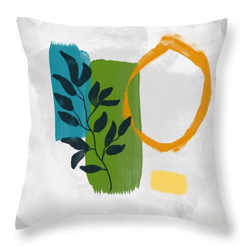 Leaf Throw Pillow featuring the mixed media Rising With The Sun 1- Art By Linda Woods by Linda Woods