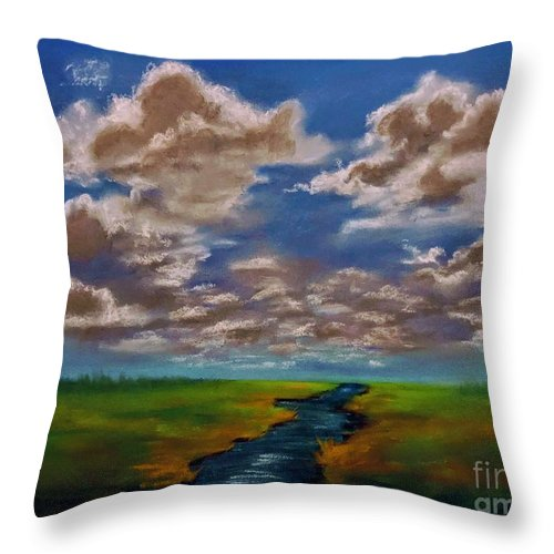 Throw Pillow featuring the painting River To Nowhere by Angela Armano