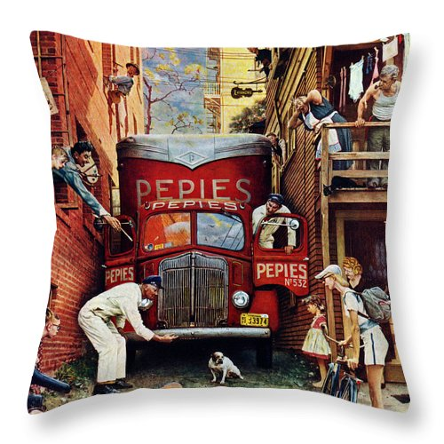 Alleys Throw Pillow featuring the drawing Road Block by Norman Rockwell