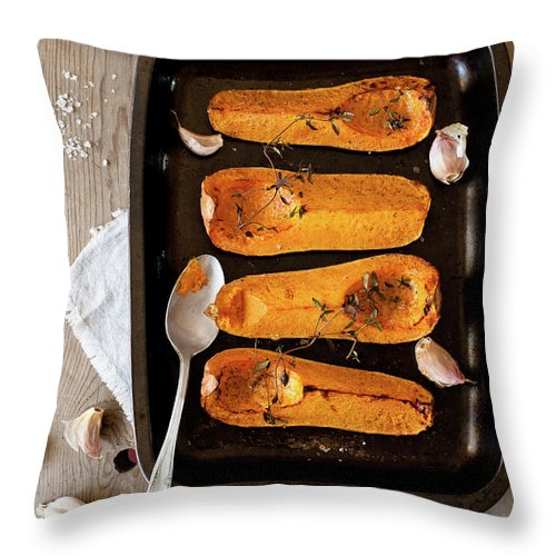 Spoon Throw Pillow featuring the photograph Roasted Butternut Squash by Sarka Babicka