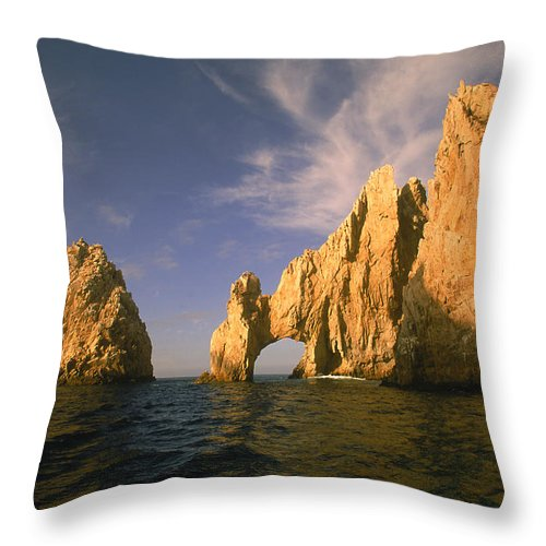 Scenics Throw Pillow featuring the photograph Rock Formations, Cabo San Lucas, Mexico by Walter Bibikow