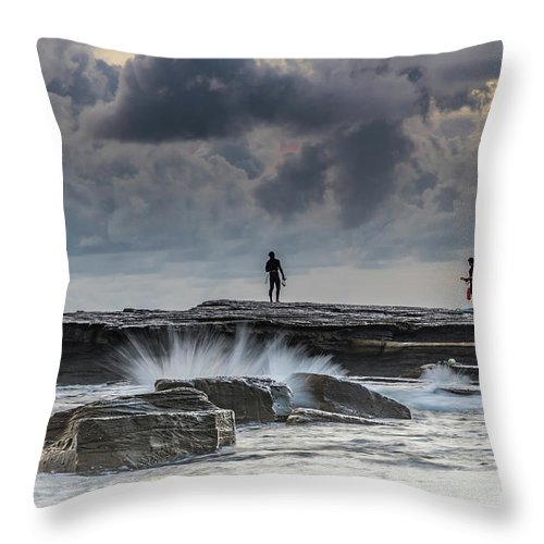 Australia Throw Pillow featuring the photograph Rock Ledge, Spear Fishermen And Cloudy Seascape by Merrillie Redden