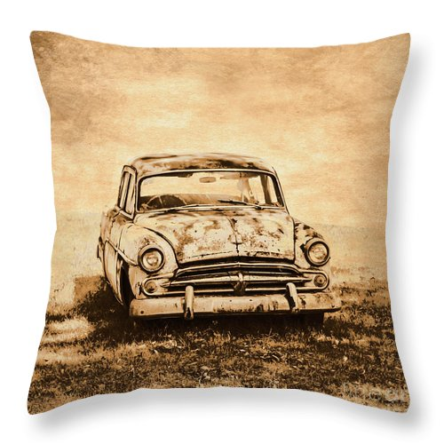 Old Throw Pillow featuring the photograph Rockabilly Relic by Jorgo Photography - Wall Art Gallery