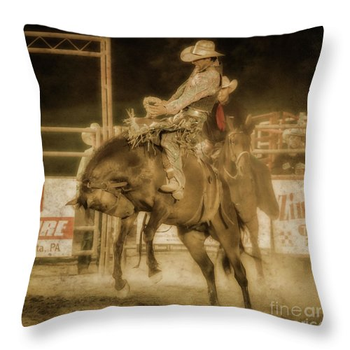 Rodeo Rider Bronco Busting Throw Pillow featuring the digital art Rodeo Rider Bronco Busting Sepia One by Randy Steele
