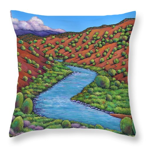 Landscape Throw Pillow featuring the painting Rolling Rio Grande by Johnathan Harris