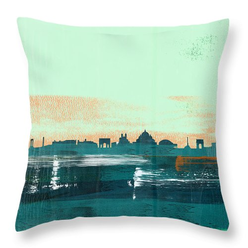 Rome Throw Pillow featuring the mixed media Rome Abstract Skyline I by Naxart Studio