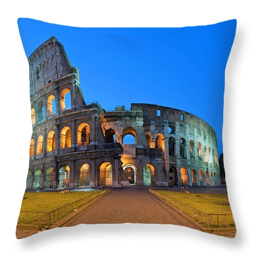 Arch Throw Pillow featuring the photograph Rome Coliseum Ancient Roman by Fotovoyager