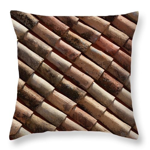In A Row Throw Pillow featuring the photograph Rooftop In Dubrovnik Old Town by Martin Child