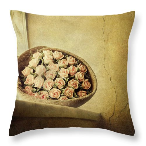 Fragility Throw Pillow featuring the photograph Roses On Window by Marco Misuri
