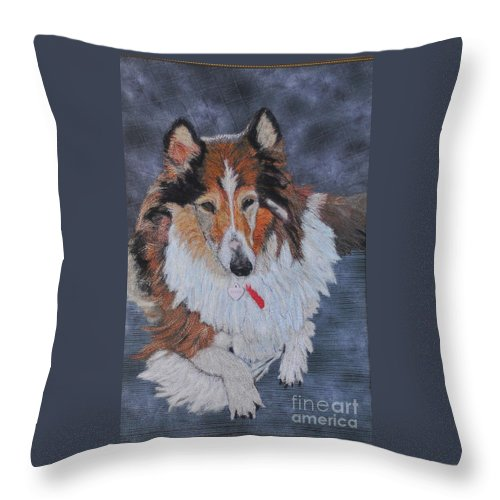 Rough Collie Throw Pillow featuring the tapestry - textile rough Collie by Dolores Fegan