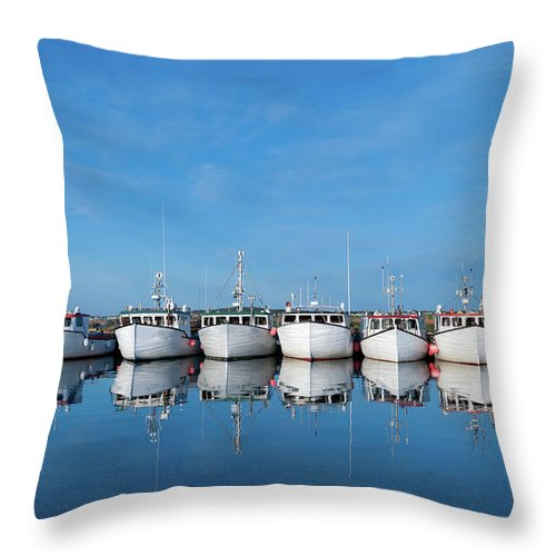 Iles De La Madeleine Throw Pillow featuring the photograph Row Of Boats With Reflection by Pndtphoto