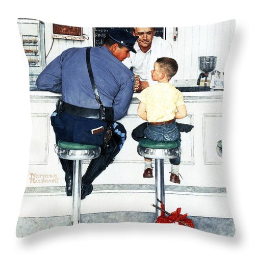Boy Throw Pillow featuring the drawing Runaway by Norman Rockwell