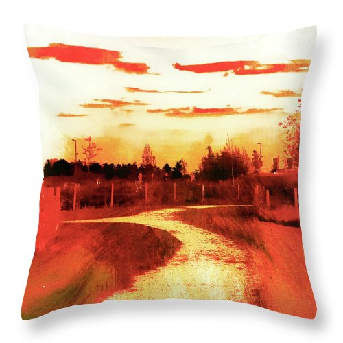 Abstract Throw Pillow featuring the photograph Rural Path Painting by Tom Gowanlock