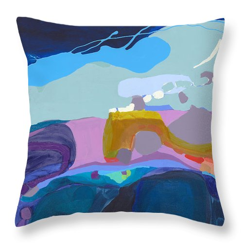 Abstract Throw Pillow featuring the painting Rush Hour by Claire Desjardins