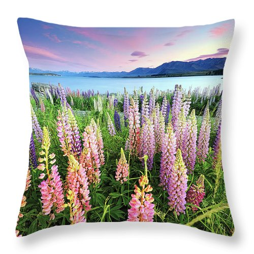 Tranquility Throw Pillow featuring the photograph Russel Lupines At Lake Tekapo by Atomiczen