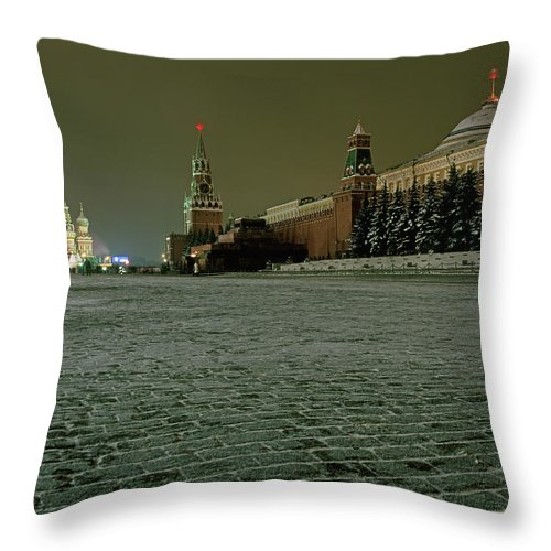 Outdoors Throw Pillow featuring the photograph Russia, Moscow, Red Square And Kremlin by Hans Neleman