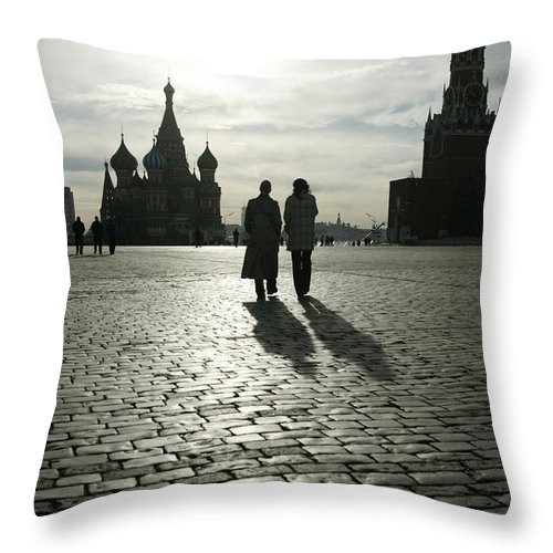 Shadow Throw Pillow featuring the photograph Russia, Moscow, Red Square, Silhouette by Will & Deni Mcintyre
