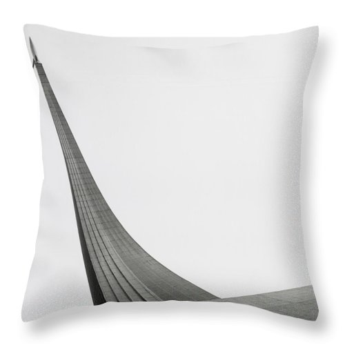 Outdoors Throw Pillow featuring the photograph Russia, Moscow Space Monument, Low by Kim Steele