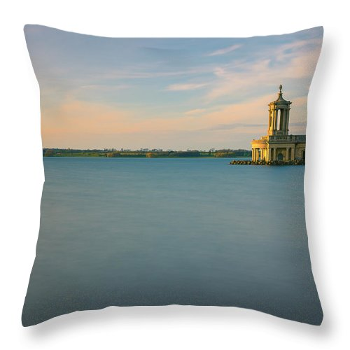 Landmark Throw Pillow featuring the digital art Rutland Water by Dariusz Stec