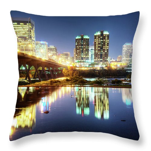 Rva Summer Night Richmond Va On The Throw Pillow For Sale By Sky Noir Photography By Bill Dickinson