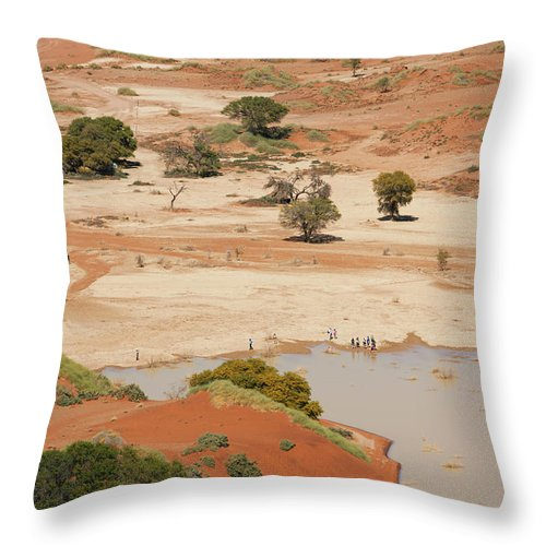 Namibia Throw Pillow featuring the photograph Safari Tourists By Sossusvlei Pan by Bjarte Rettedal