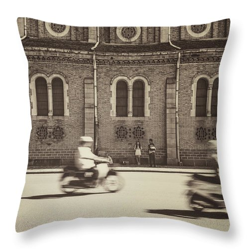 Ho Chi Minh City Throw Pillow featuring the photograph Saigon Old Corner by Jethuynh