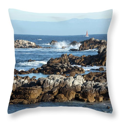 Water's Edge Throw Pillow featuring the photograph Sailboat In Monterey Bay Along Rocky by Milehightraveler
