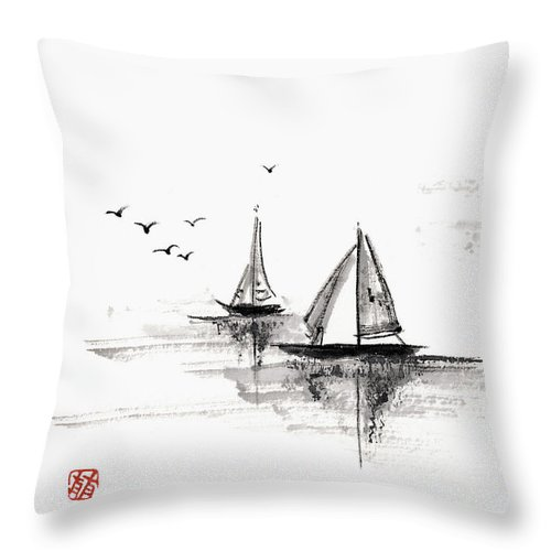 Ink And Brush Throw Pillow featuring the digital art Sailboats On The Water by Daj