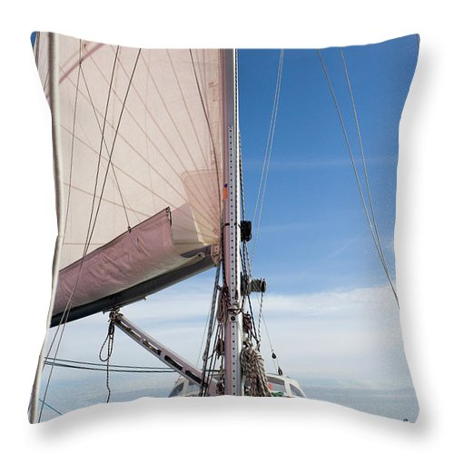 Baltic Sea Throw Pillow featuring the photograph Sailing Boat In Sea by Bjurling, Hans