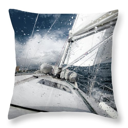 Wind Throw Pillow featuring the photograph Sailing In The North Sea During A Storm by Sindre Ellingsen