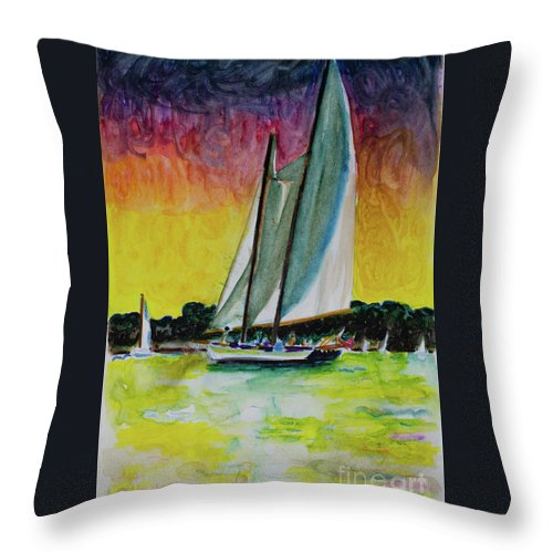 Sailing Throw Pillow featuring the painting Sailing Love by Robert Yaeger