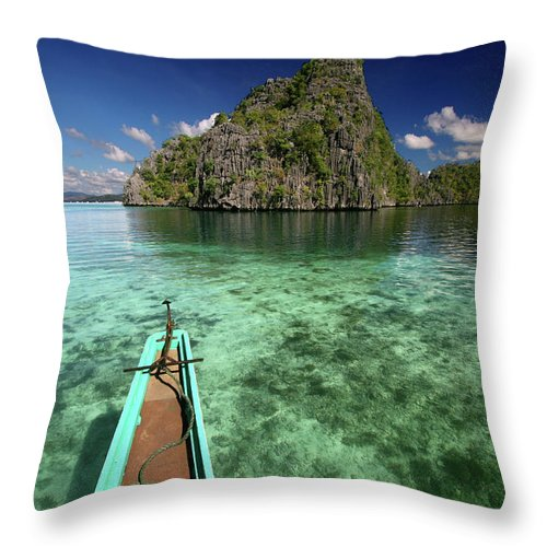 Tranquility Throw Pillow featuring the photograph Sailing Over Coral Coron by Photo ©tan Yilmaz