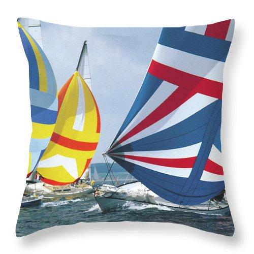 Wind Throw Pillow featuring the photograph Sailing Race by John Foxx