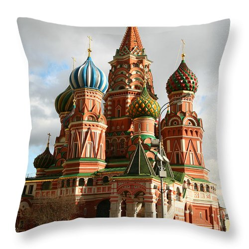 Caucasian Ethnicity Throw Pillow featuring the photograph Saint Basils Cathedral by Trait2lumiere