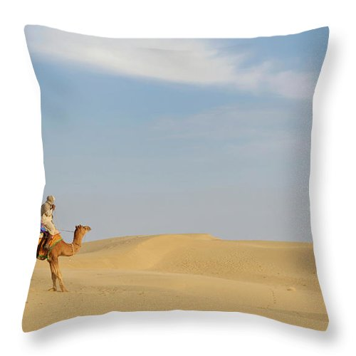 Tranquility Throw Pillow featuring the photograph Sam Sand Dunes Near Jaisalmer, Rajasthan by Cultura Rm Exclusive/karen Fox