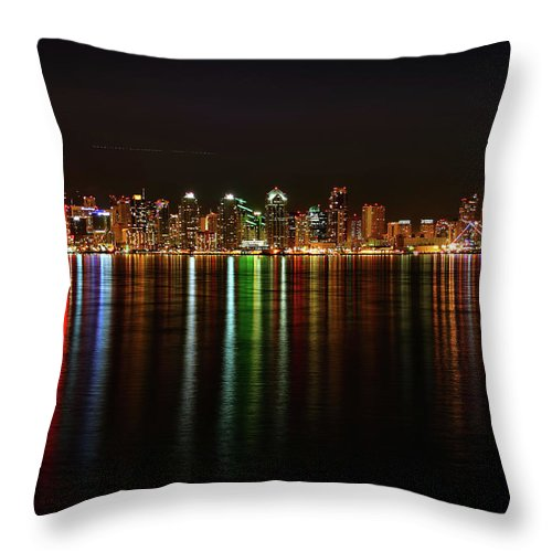 California Throw Pillow featuring the photograph San Diego Skyline From Harbor Island by David Toussaint