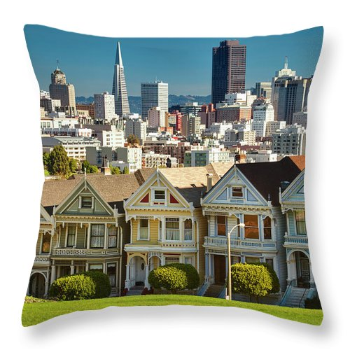 San Francisco Throw Pillow featuring the photograph San Francisco Postcard Row Skyline by Pgiam