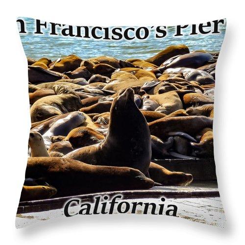 San Francisco Throw Pillow featuring the photograph San Francisco's Pier 39 Walruses 1 by G Matthew Laughton