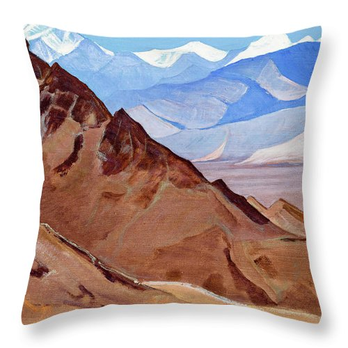 Roerich Sanctuaries And Citadels Throw Pillow featuring the painting Sanctuaries And Citadels, 1925 by Nikolai Konstantinovich Roerich