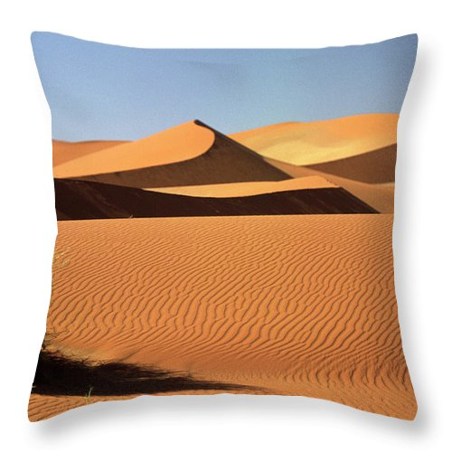 Shadow Throw Pillow featuring the photograph Sand Dunes In Namib Desert, Namibia by Walter Bibikow