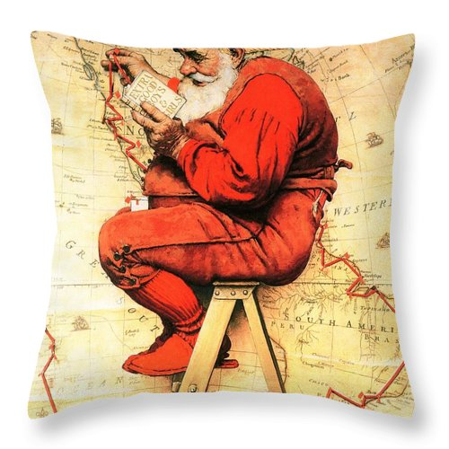 Christmas Throw Pillow featuring the drawing Santa At The Map by Norman Rockwell