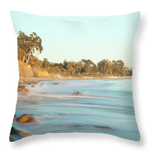 Water's Edge Throw Pillow featuring the photograph Santa Barbara by Andrewhelwich
